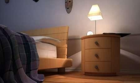 Wnętrze sypialni w nocy detal