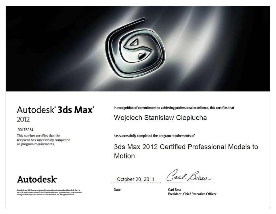3dsMax 2012 Certified Professional Wojciech Ciepłucha
