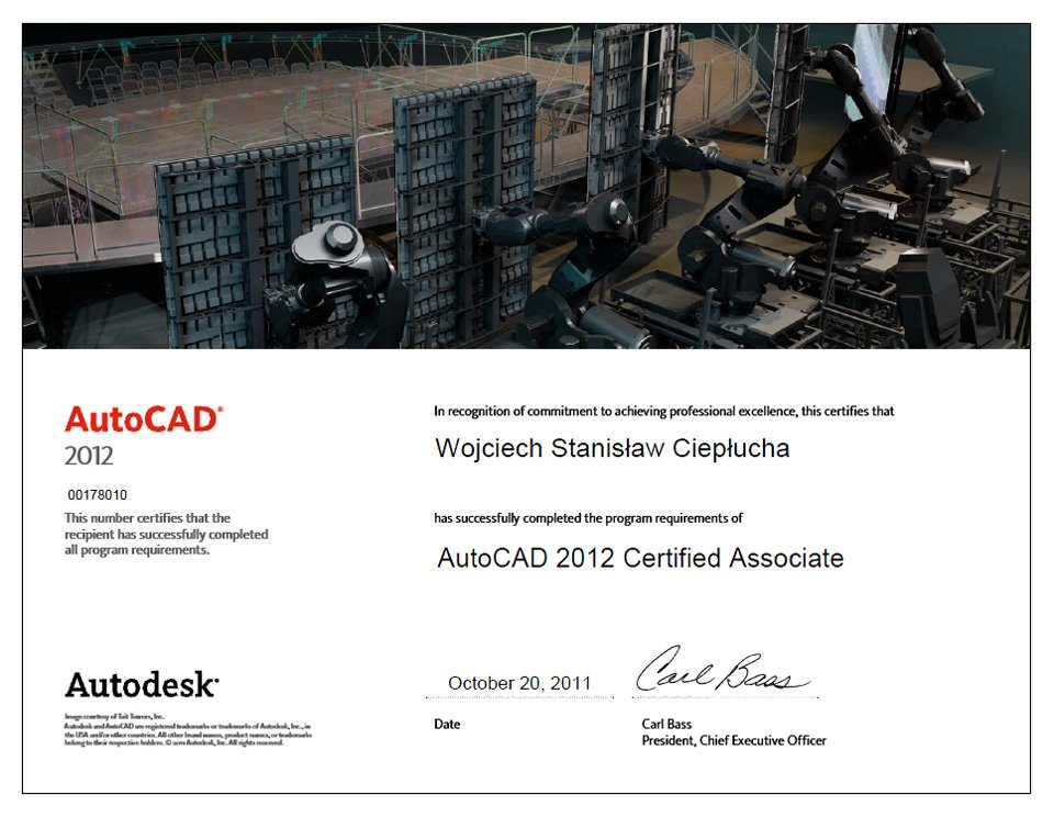 AutoCAD 2012 Certified Associate Wojciech Ciepłucha