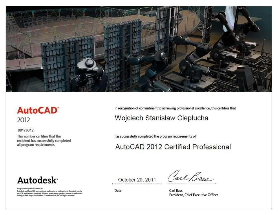 AutoCAD 2012 Certified Professional Wojciech Ciepłucha