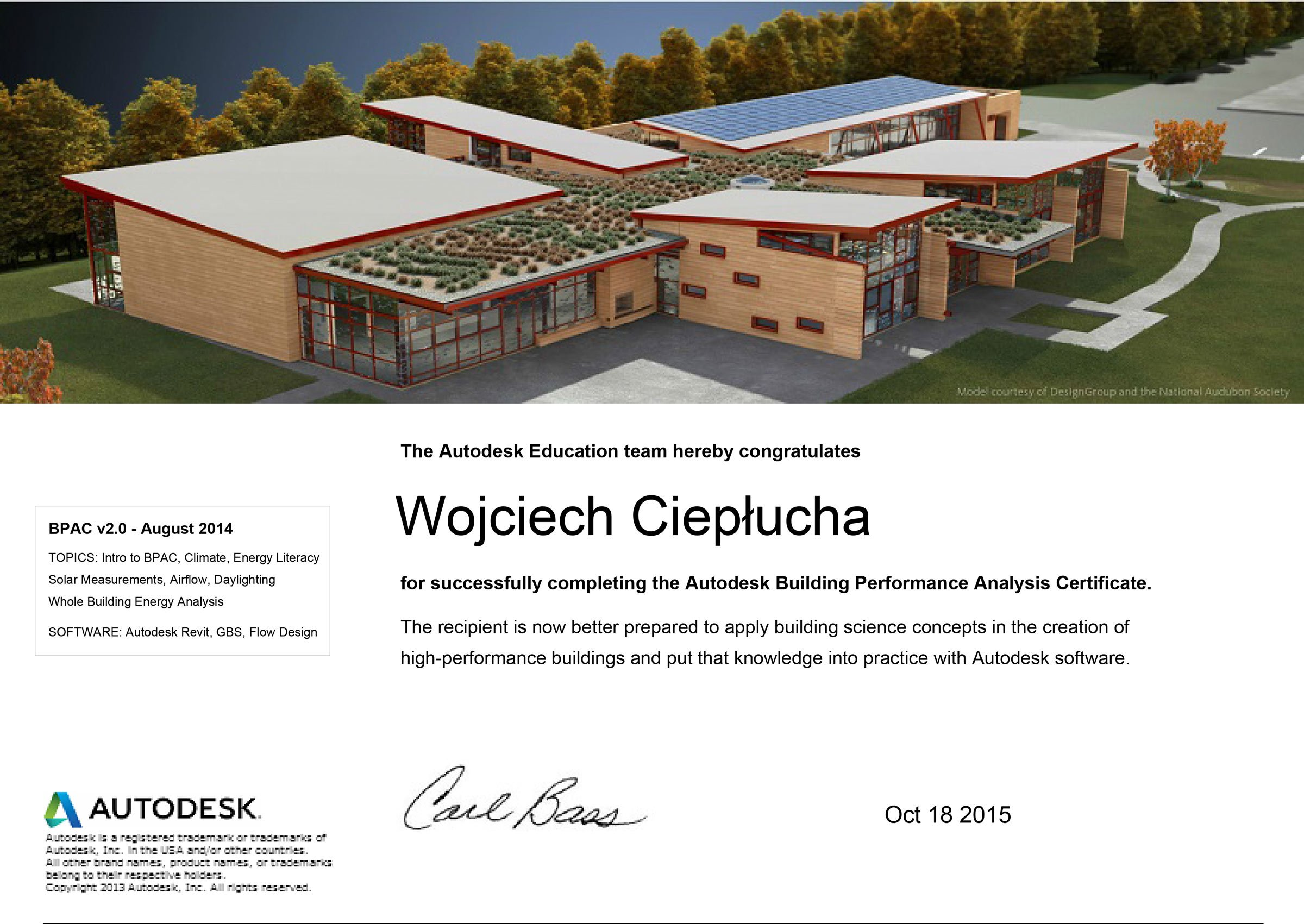 Independent Autodesk Building Performance Analysis Certificate 2014
